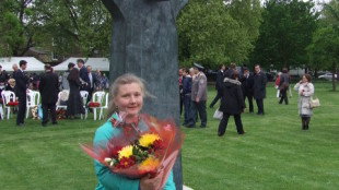 Anna with flowers Victory day